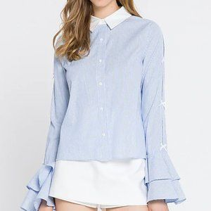 English Factory Striped Sleeve Button-Up Shirt
